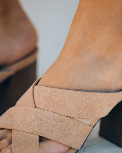 Bryan Criss Cross Heeled Sandal - Warm Taupe