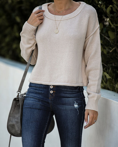 Cory Cotton Blend Cropped Knit Sweater  - FINAL SALE