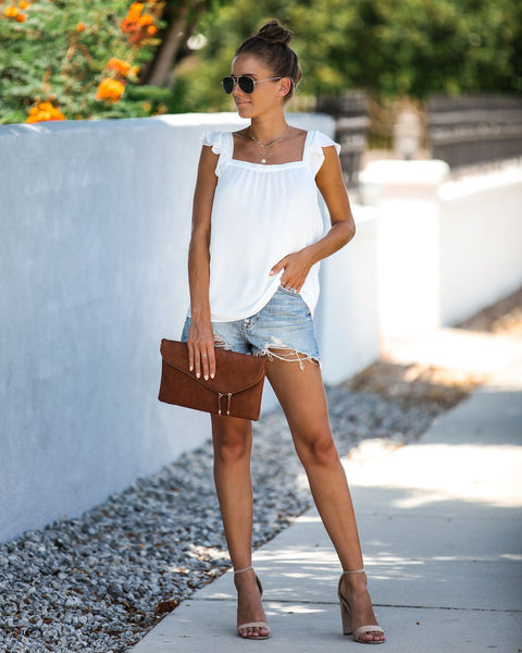 Bold Luxury Flutter Top - Off White