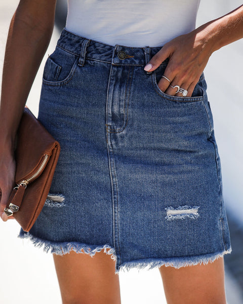 Keep It Up Pocketed Denim Skirt