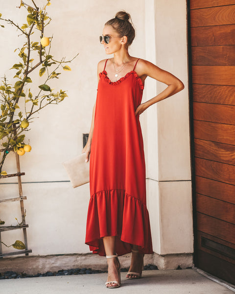 Young Love Ruffle Maxi Dress - Brick