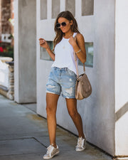 Parker Distressed Denim Mom Shorts