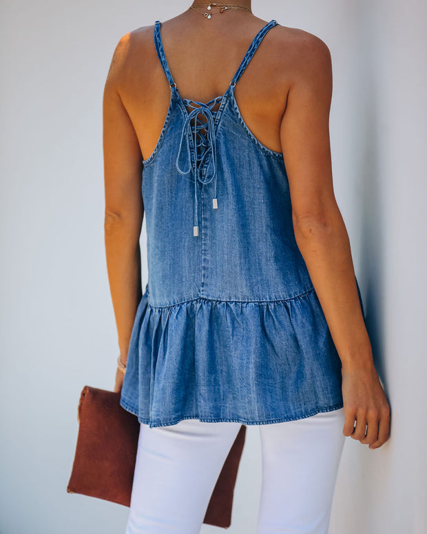 Giana Tencel Peplum Tank - Dark Wash