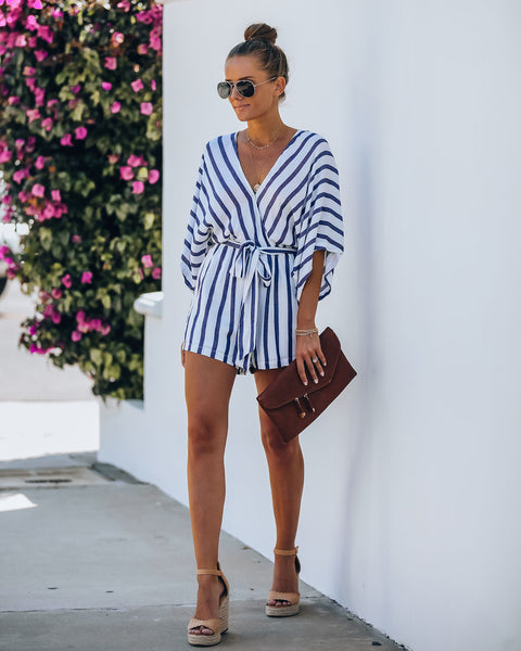 Beach, Please Striped Kimono Romper