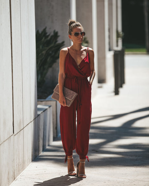 Kingpin Solid Pocketed Jumpsuit - Wine