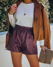 Issa Pocketed Faux Leather Shorts - Merlot