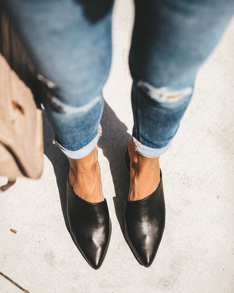 Sabrina Heeled Mule - Black - FINAL SALE
