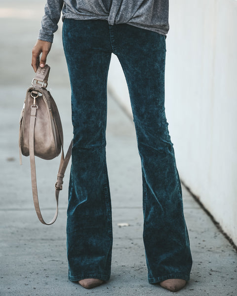 Dazed + Confused Acid Wash Corduroy Bell Bottoms - Teal