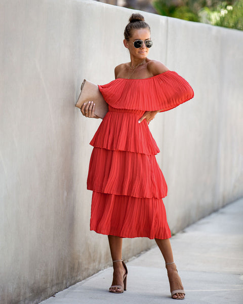 Quickstep Off The Shoulder Tiered Midi Dress - Coral