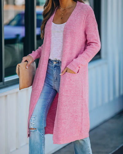 She's Blushing Cotton Blend Pocketed Duster Cardigan