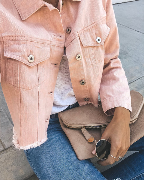 Spring Fresh Frayed Cotton Jacket - Peach - FINAL SALE