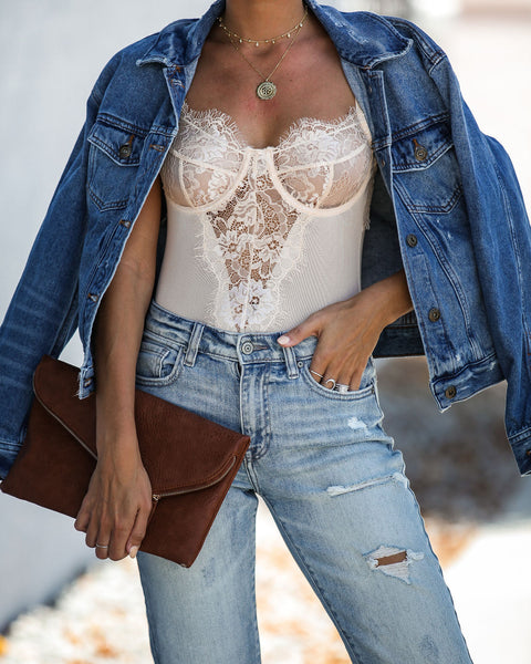 Chateau Lace Bodysuit - Nude - FINAL SALE