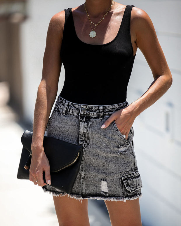 Been There Pocketed Acid Wash Denim Skirt - FINAL SALE