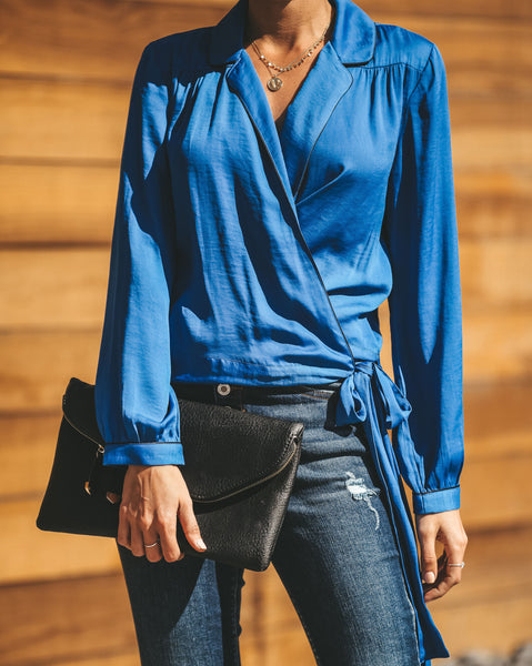Night Wish Wrap Blouse - Blue