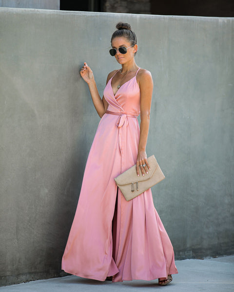 Weekend Plans Satin Maxi Dress - Blush - FINAL SALE