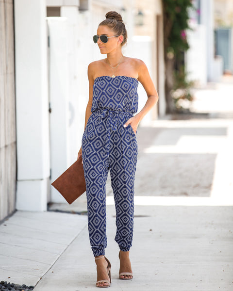 a979a262ca In The Zone Strapless Pocketed Tie Jumpsuit - Navy
