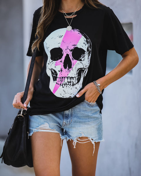 Grin + Bolt Distressed Cotton Skull Tee