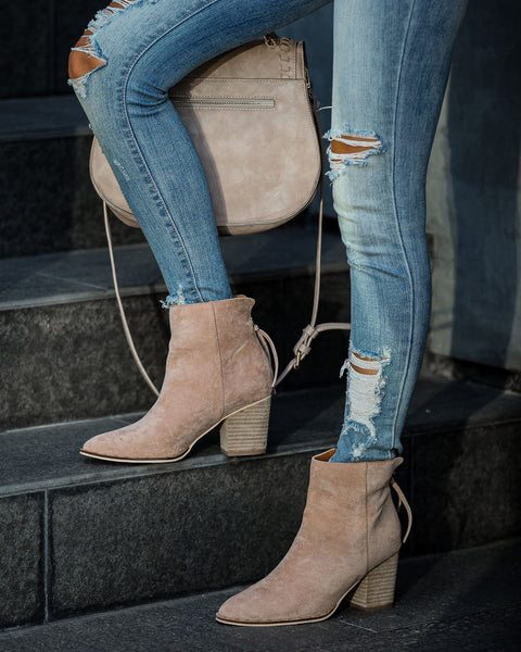 Curb Appeal Faux Suede Heeled Bootie - Taupe