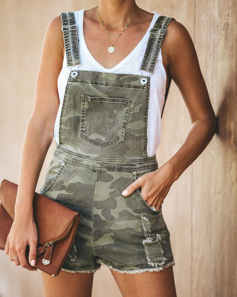 Captain Cotton Camo Pocketed Overall Shorts