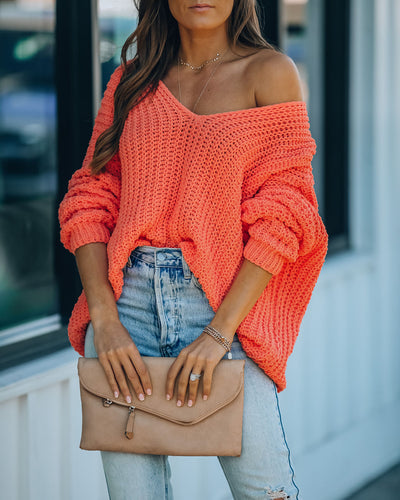 Pinky Promise Cotton Blend Knit Sweater - Orange