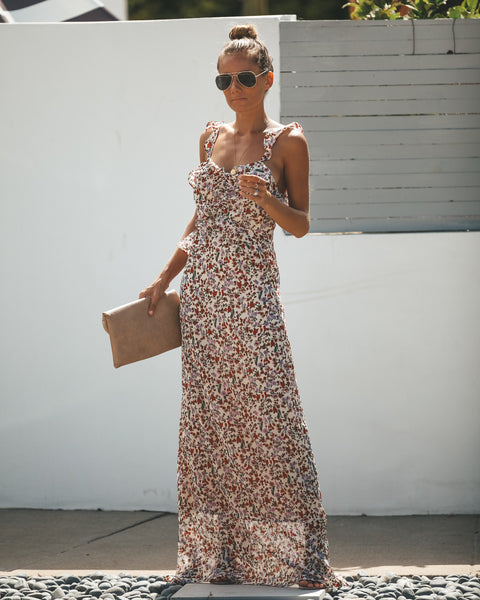 Quick Thinking Ruffle Floral Maxi Dress
