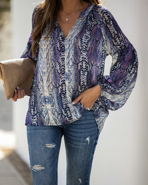 Maddox Printed Shimmer Blouse - FINAL SALE
