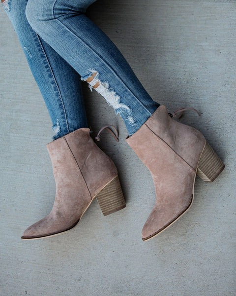 Curb Appeal Faux Suede Heeled Bootie - Taupe  - FINAL SALE