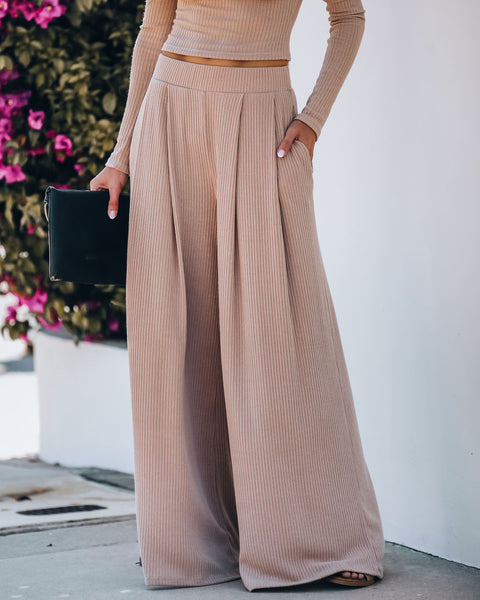 Hermosa Pocketed Ribbed Wide Leg Pants - Mocha