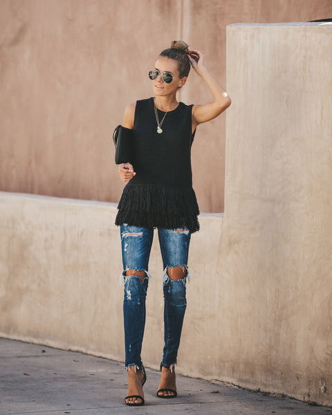 Feels Just Right Sleeveless Fringe Sweater - Black - FINAL SALE
