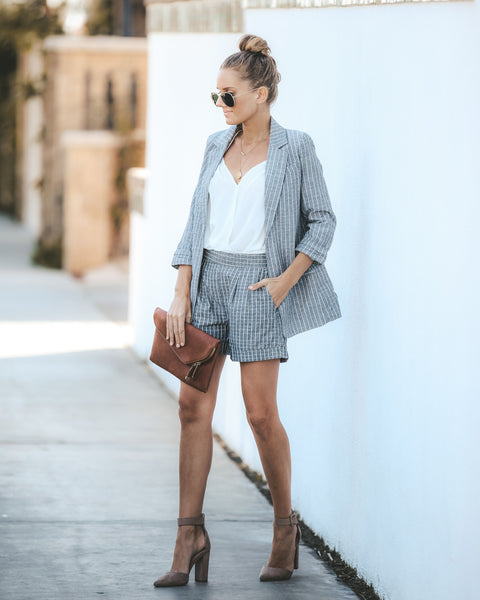 Vice Cotton Striped Blazer - Grey - FINAL SALE