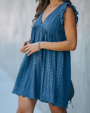 Angel Babe Cotton Eyelet Pocketed Dress - Steel Blue - FINAL SALE