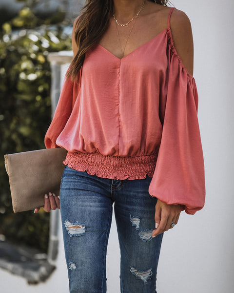 Evangeline Smocked Cold Shoulder Blouse - Light Clay