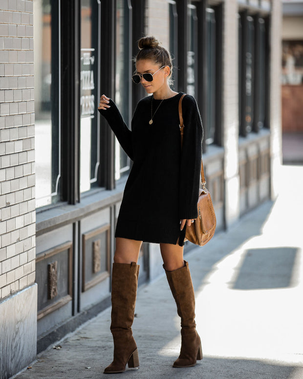 Smoky Mountain Sweater Dress - Black