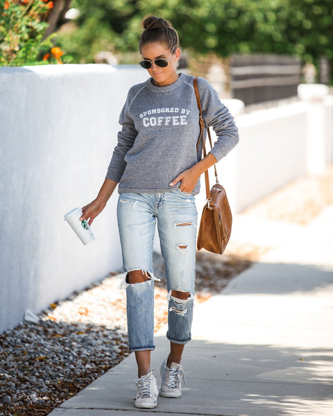 Sponsored By Coffee Cotton Blend Pullover - FINAL SALE