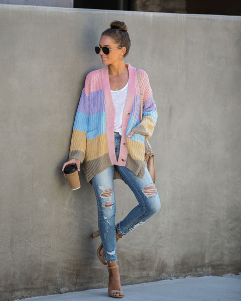 Start Living Pocketed Colorblock Cardigan- FINAL SALE