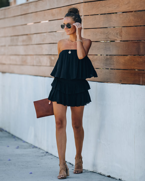 Balmy Strapless Smocked Backless Romper - Black