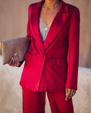 Celebrate Big Pocketed Satin Blazer - Red view 6