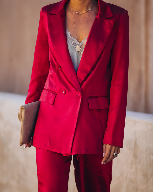 Celebrate Big Pocketed Satin Blazer - Red view 8