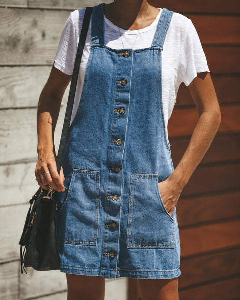 Innocent + Sweet Pocketed Jumper Dress - Denim