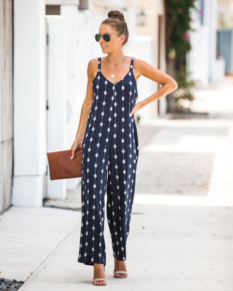 Topaz Diamond Print Jumpsuit