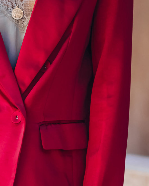 Celebrate Big Pocketed Satin Blazer - Red view 4