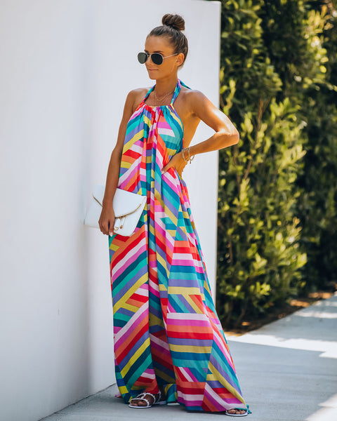 Mardi Gras Pocketed Halter Maxi Dress