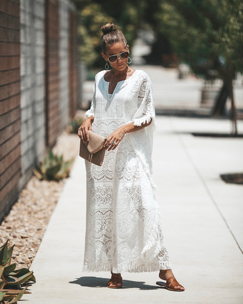 Vacay Of Your Dreams Lace Cotton Kaftan - Off White - FINAL SALE