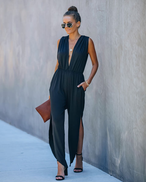 Lester Pocketed Satin Slit Jumpsuit