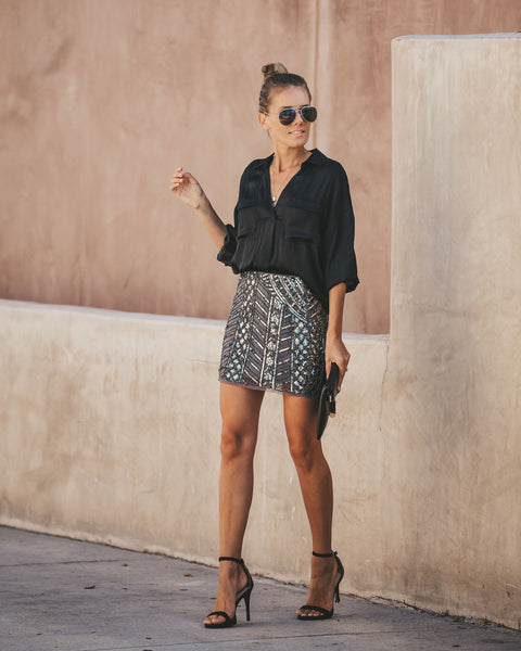 Great Gatsby Sequin Mini Skirt - Gunmetal