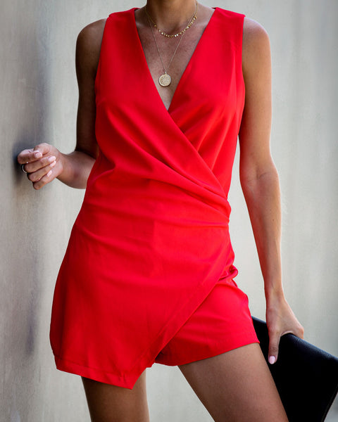 Del Ray Drape Romper - Red