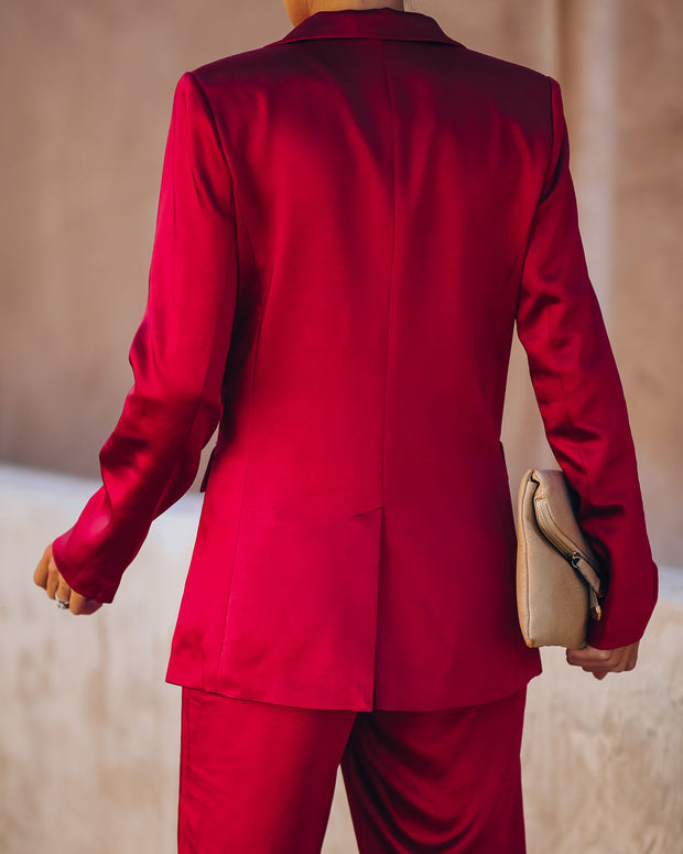 Celebrate Big Pocketed Satin Blazer - Red view 2