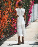 Sweet Streets Eyelet Jumpsuit - Off White