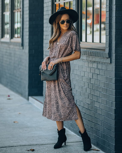 Dee Dee Pocketed Animal Print Knit Midi Dress