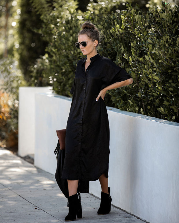 All The Rage Satin Button Down Pocketed Midi Dress